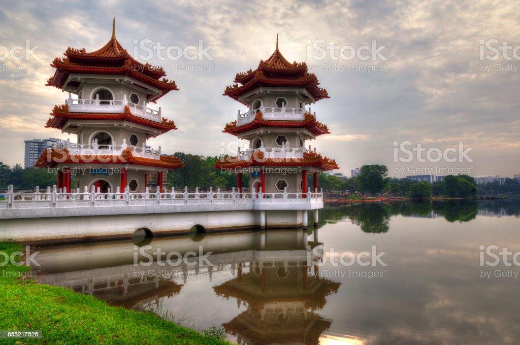 Twin Pagodas at Singapore Chinese Gardens stock photo