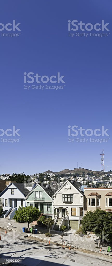 Twin Peaks Sutro Tower villas Castro Mission San Francisco California royalty-free stock photo