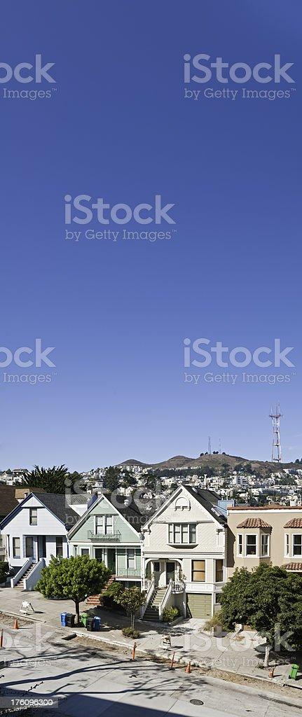 Twin Peaks Sutro Tower villas Castro Mission San Francisco California stock photo