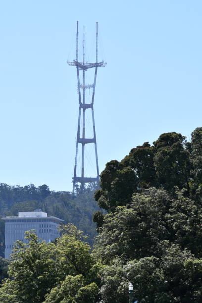 twin peaks sutro tv and radio tower - steven harrie stock photos and pictures