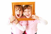 Girls with photo frame
