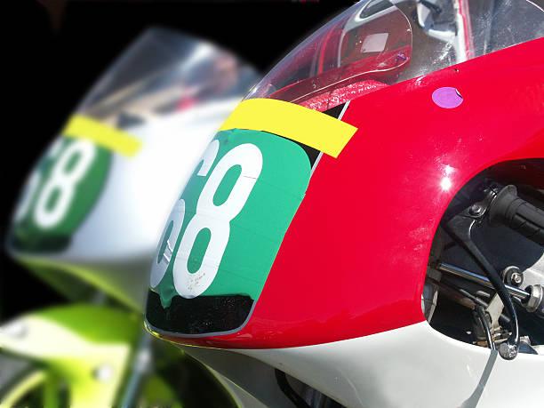 Twin Race Bikes stock photo