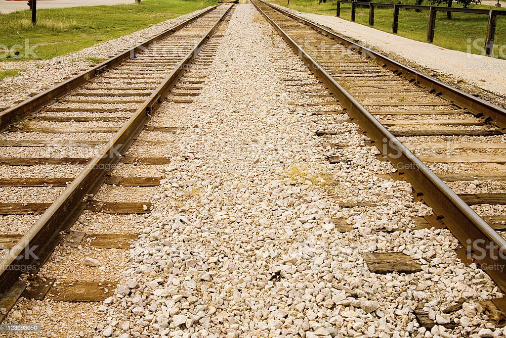 Twin railroad, train tracks. Diminishing perspective. royalty-free stock photo