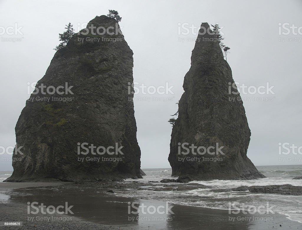 Twin Sea Stacks royalty-free stock photo