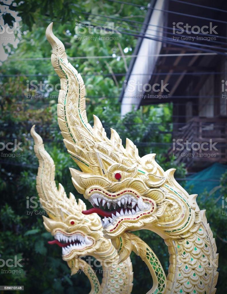 Twin serpent head stock photo