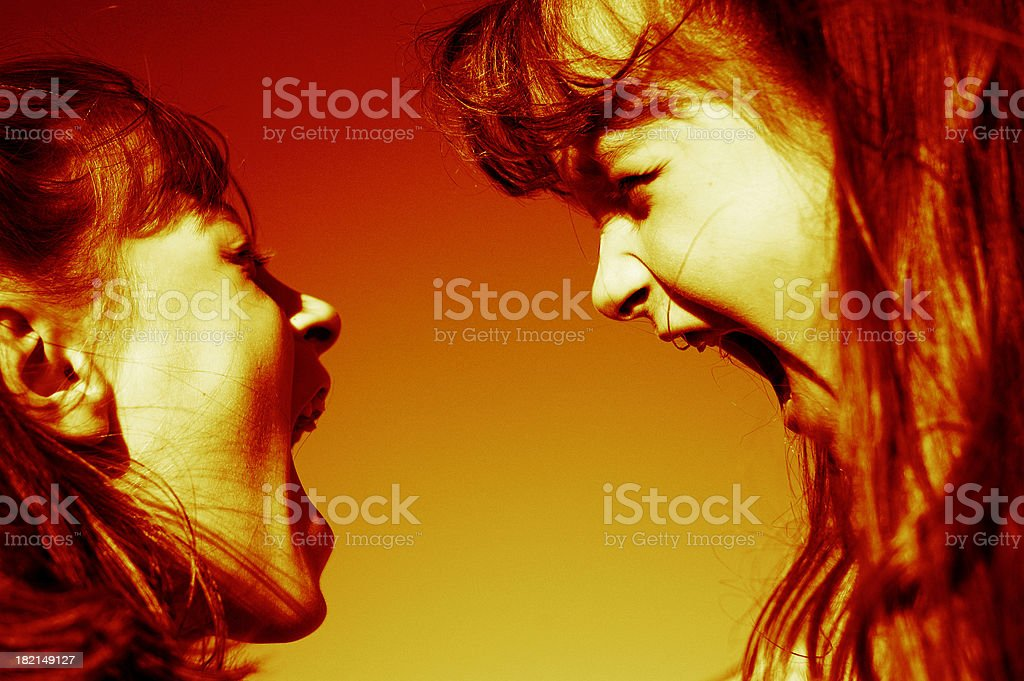 Twin Shouting Match - Heated Edition royalty-free stock photo