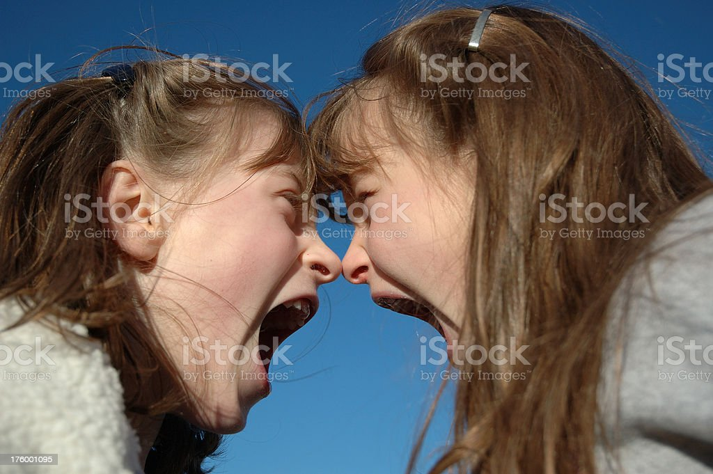 """Twin Shouting Match - Nose2Nose """"Twin sisters engaged in a heated, nose-to-nose arguement."""" Anger Stock Photo"""