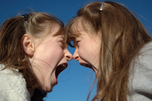 Twin Shouting Match Nose2nose Stock Photo - Download Image Now
