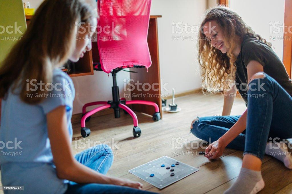 Twin Sisters At Home zbiór zdjęć royalty-free