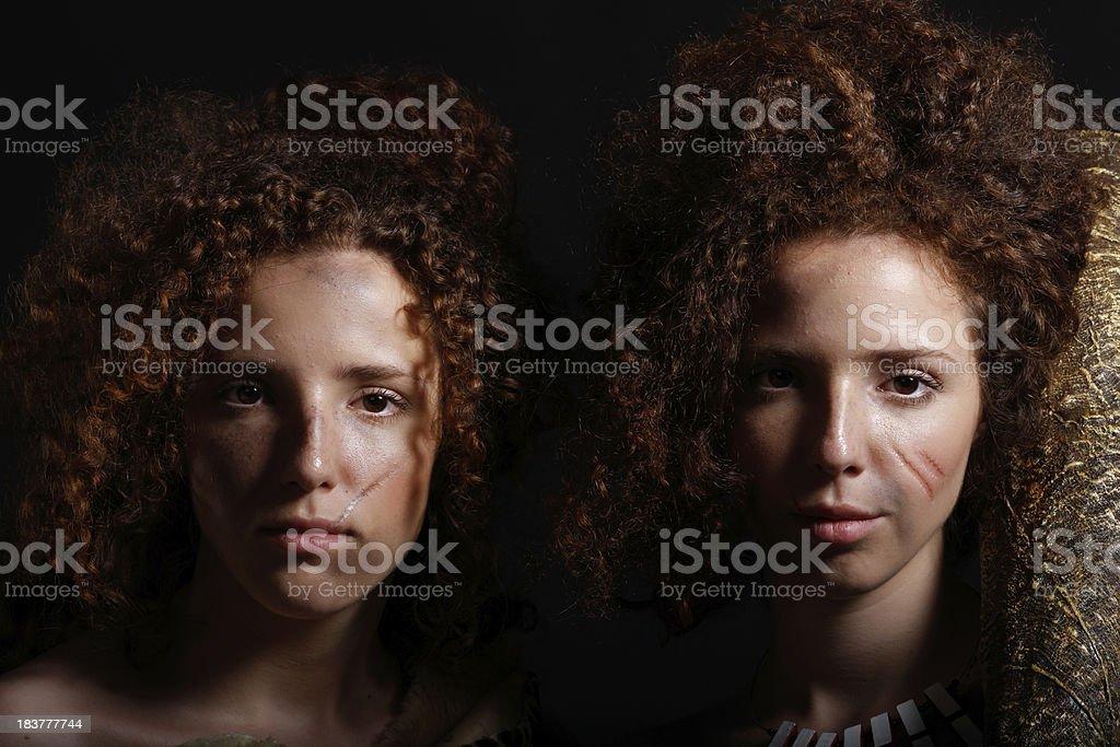 Twin sisters stock photo