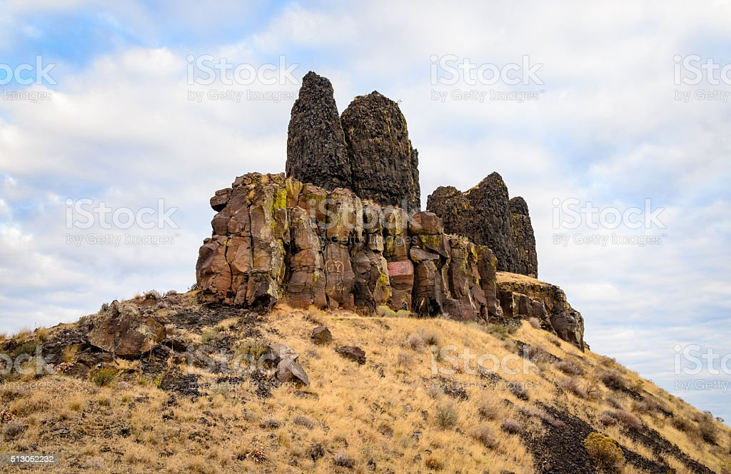 Twin Sisters Rocks stock photo