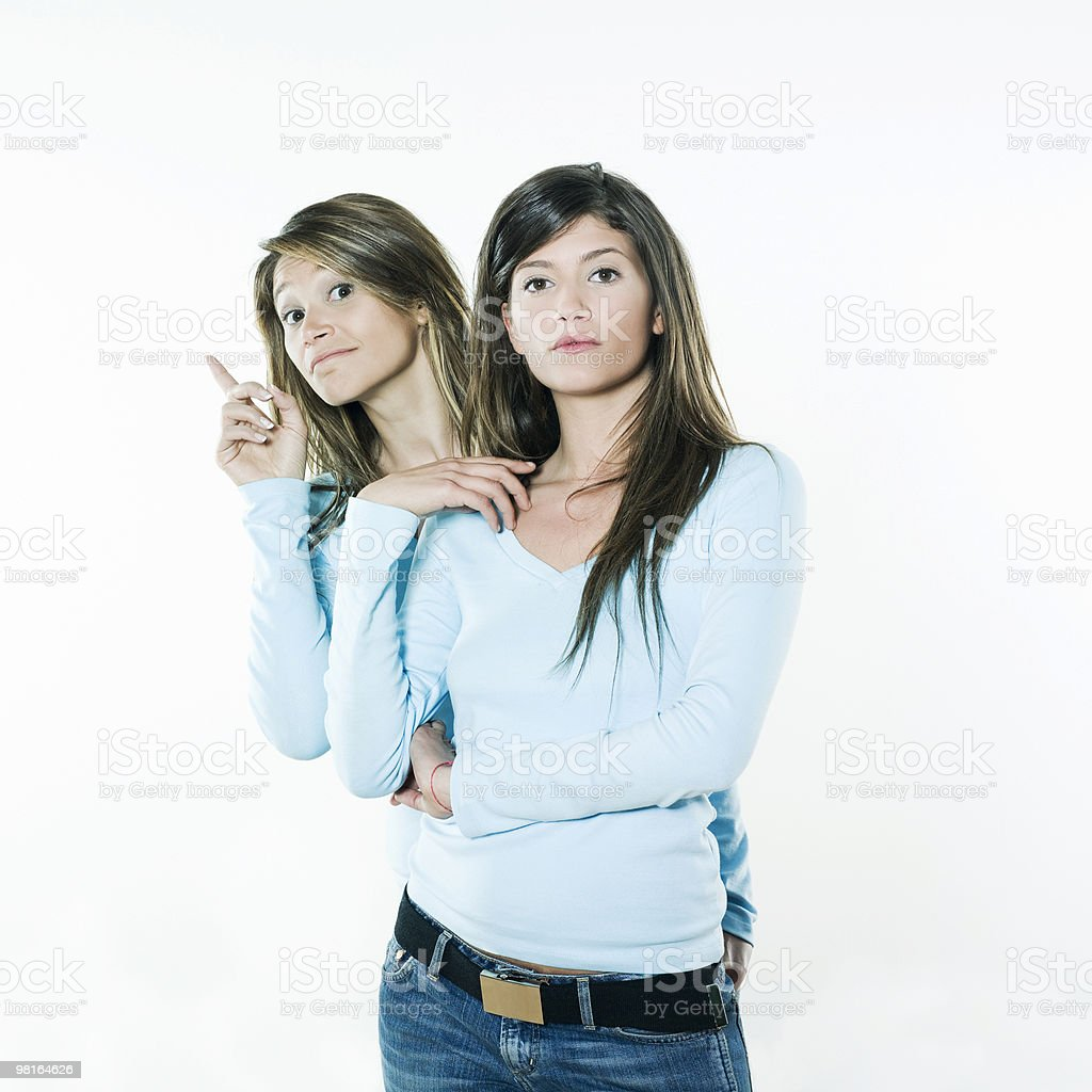 twin siters woman royalty-free stock photo