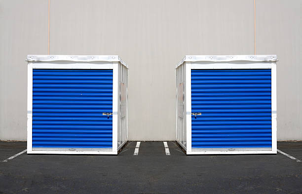 Twin Storage Units cargo containers plant pod stock pictures, royalty-free photos & images