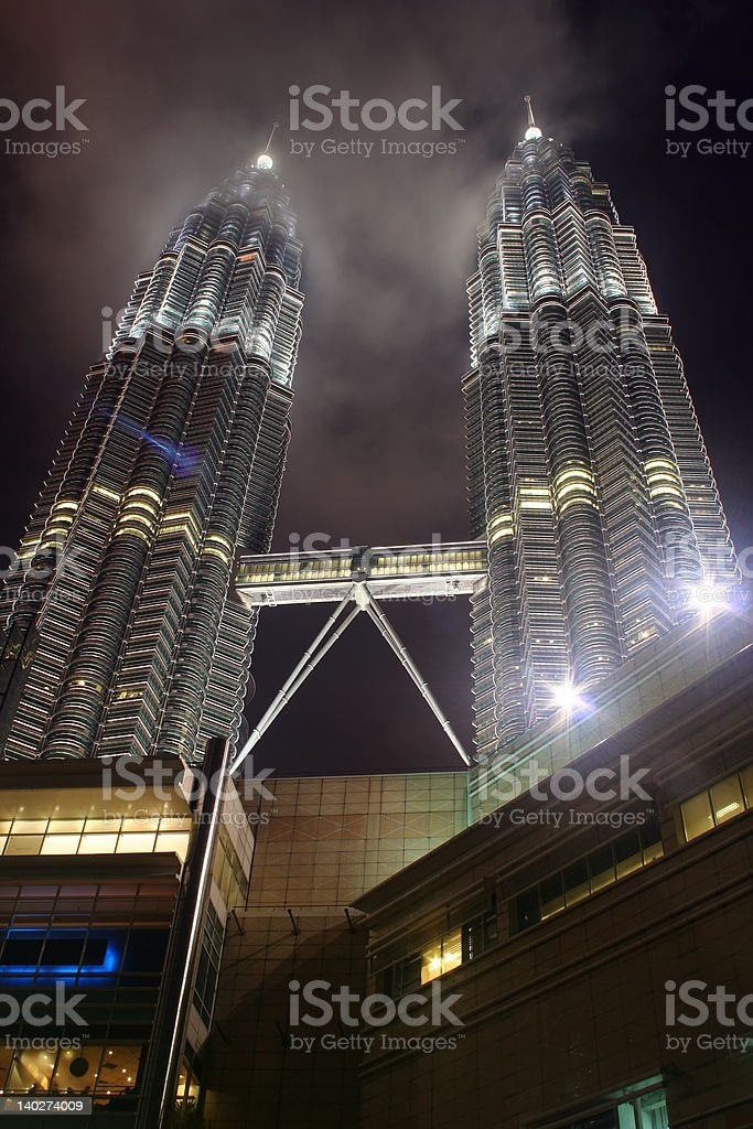 Twin Towers At Night stock photo