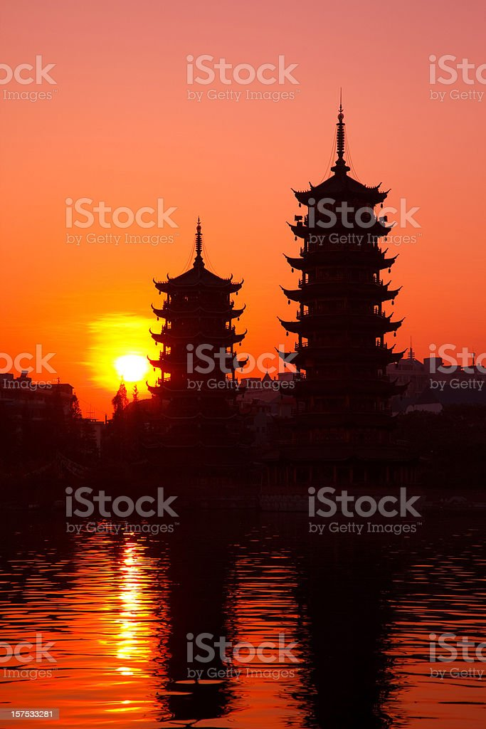 Twin Towers in Guillin royalty-free stock photo