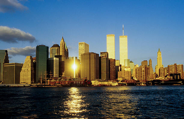 twin towers in New York stock photo