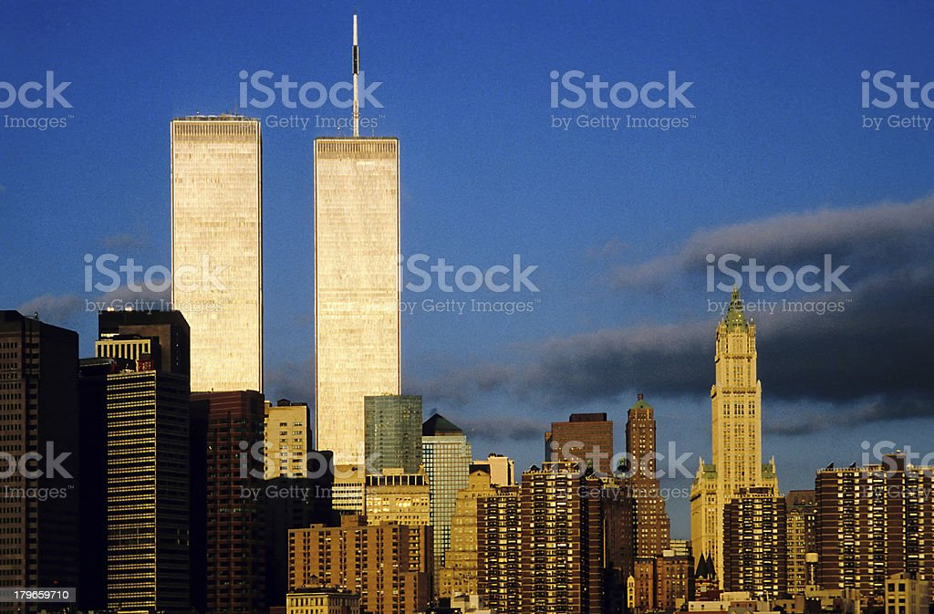 twin towers in sunset stock photo