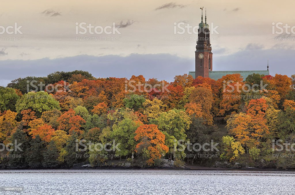 Twin towers of Hogalid Church in Stockholm stock photo