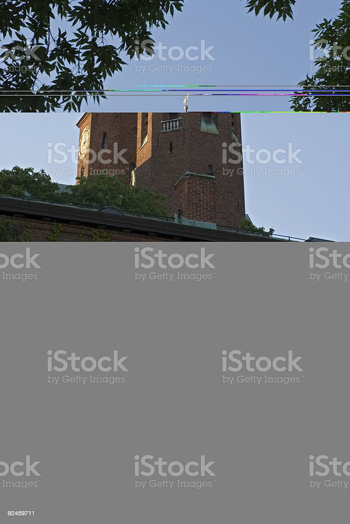 Twin towers of Hogalid Church in Stockholm royalty-free stock photo