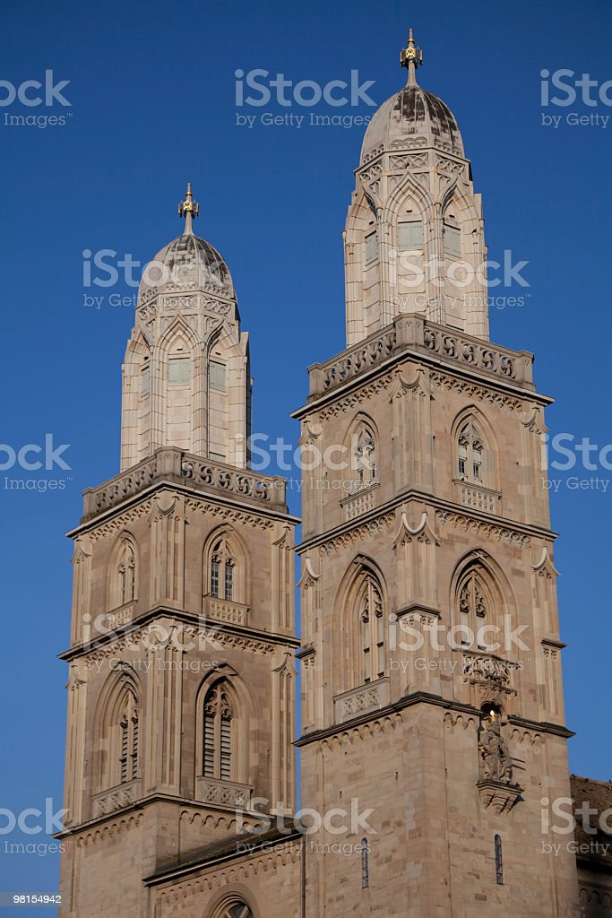 Twin Towers of Romanesque-style Grossmünster, Zurich, Switzerland royalty-free stock photo