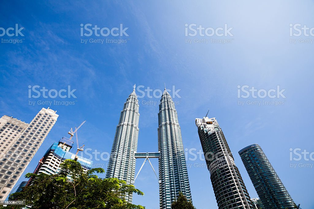 twin towers stock photo