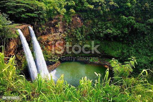 istock Twin Wailua waterfalls on Kauai, Hawaii 587819922