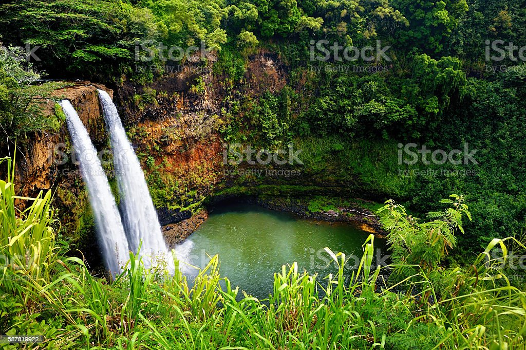 Twin Wailua waterfalls on Kauai, Hawaii stock photo