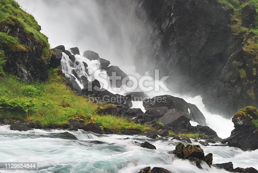 Double, twin waterfall in Hardangervidda, Norway. This is the Espelandsfossen, south of Odda, in the most western part of Hardangervidda.