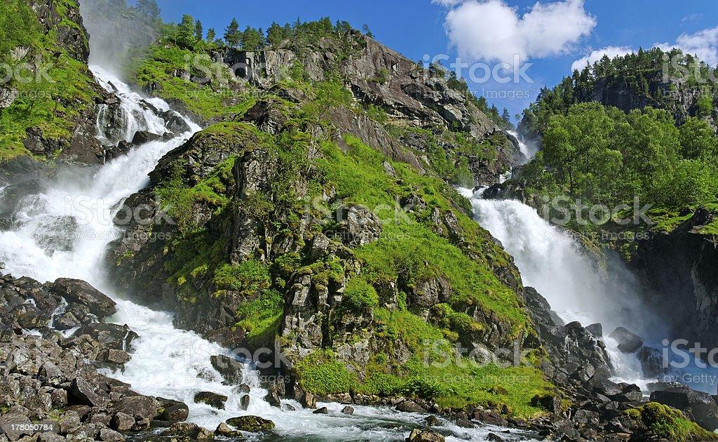 Twin waterfall. stock photo