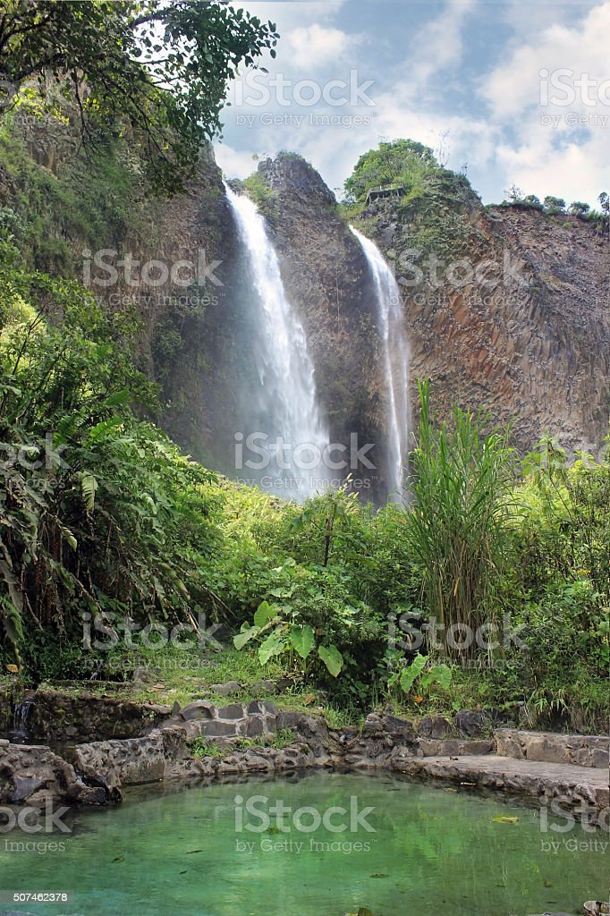 Twin Waterfalls Baños, Ecuador stock photo