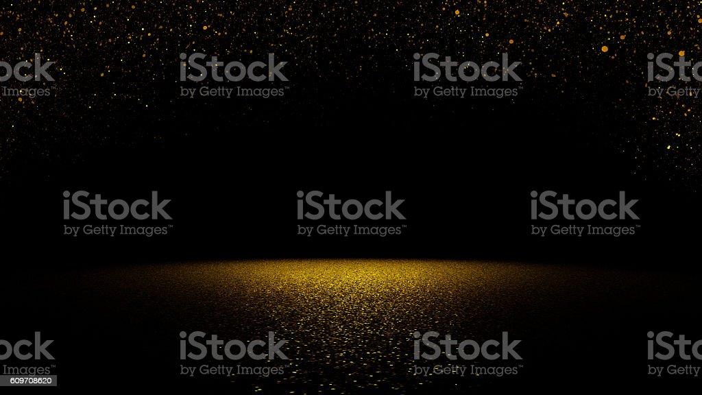 きらめくゴールドのグリッター落ちるでフラットな表面にスポットライトを当てた ストックフォト