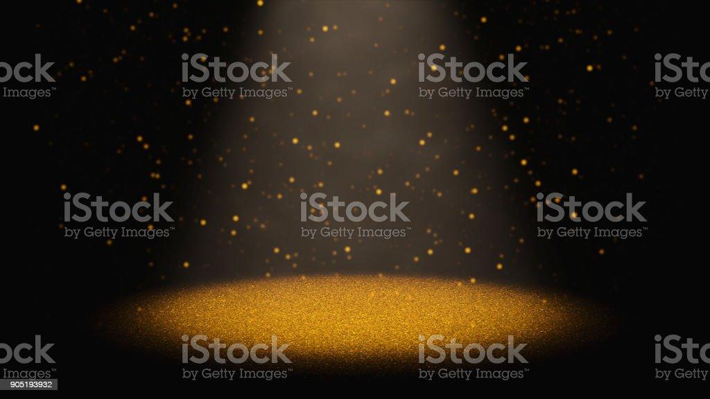 glitter dourado caindo através de um cone de luz num palco de cintilação - foto de acervo