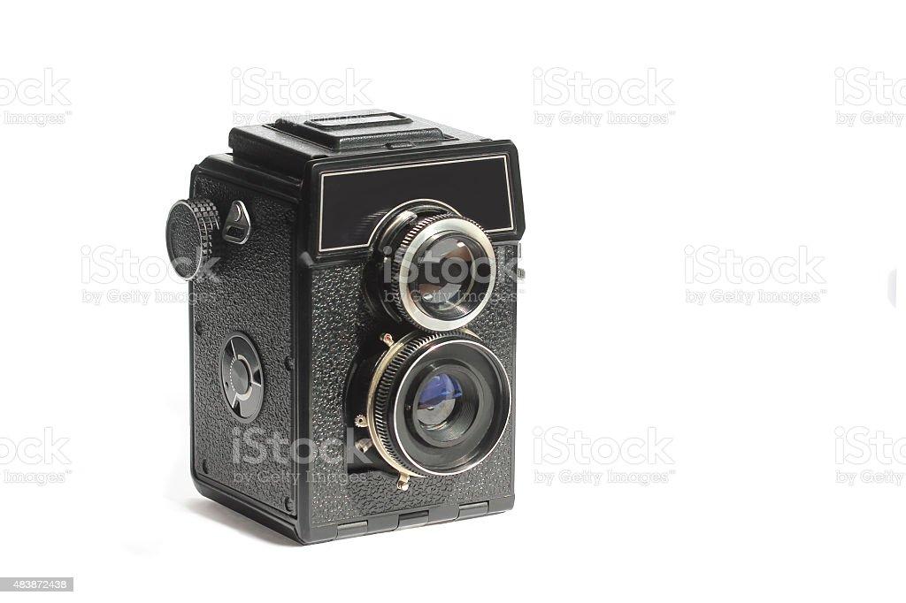 Twin-lens mirror Amateur vintage medium format camera stock photo