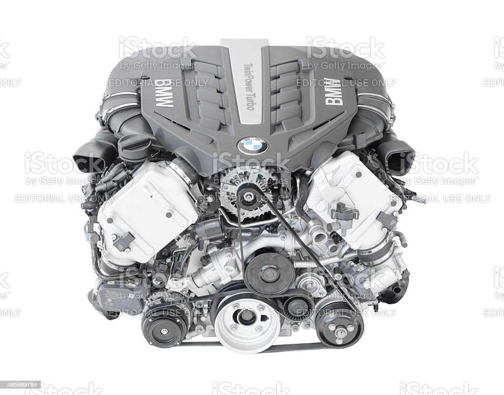 BMW TwinPower turbo V8-cylinder top-of-the-range petrol engine stock photo