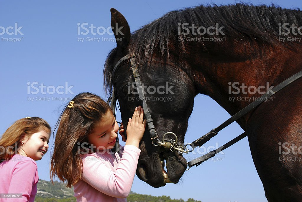 twins and their friend horse royalty-free stock photo