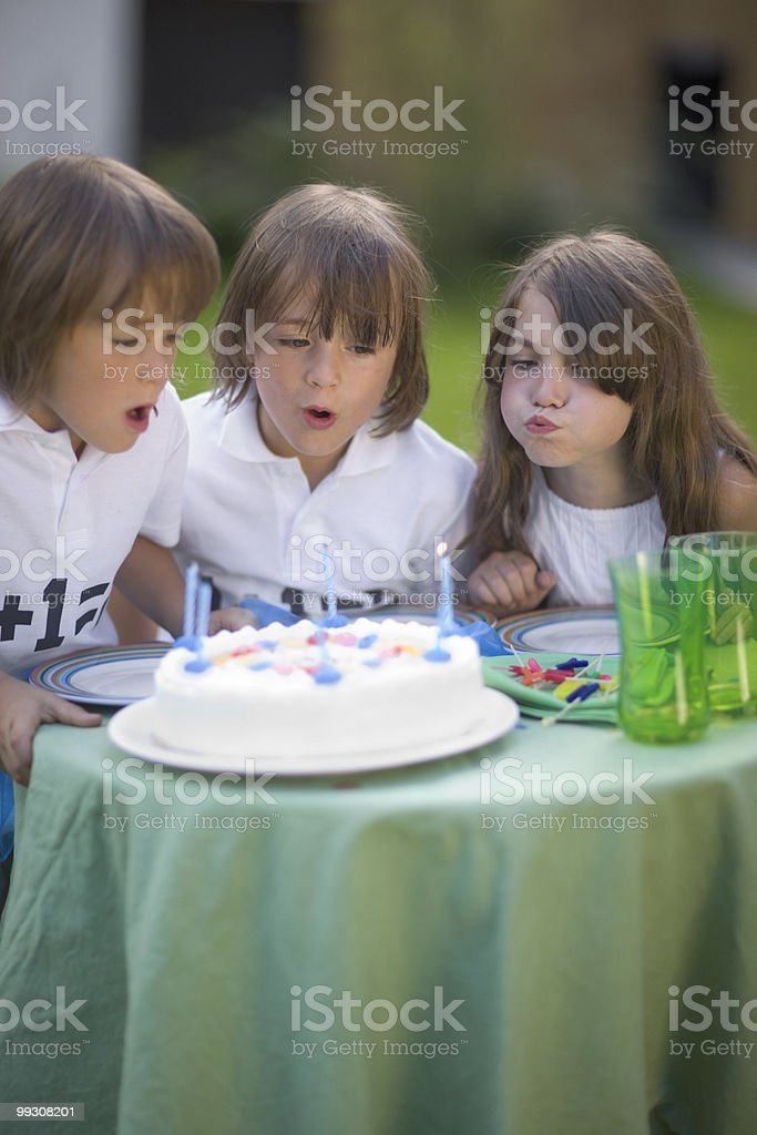 Twins celebrating their birthday royalty-free stock photo