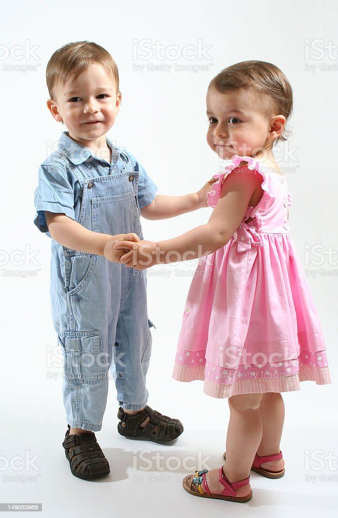 Twins dancing royalty-free stock photo