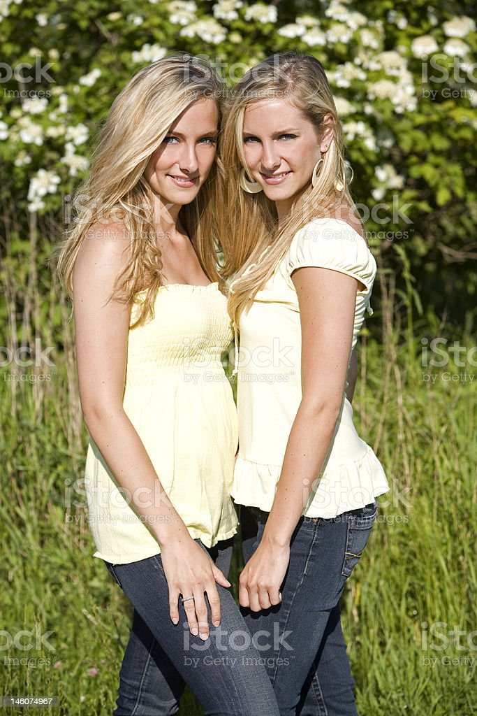 twins in the summer royalty-free stock photo