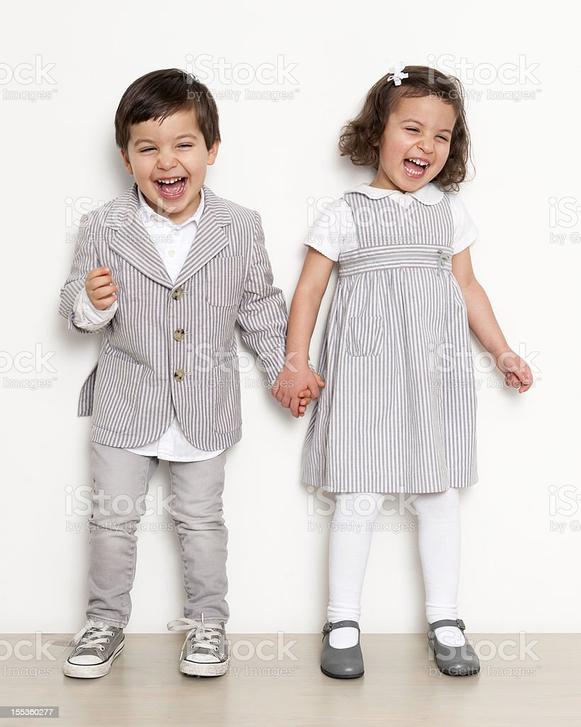 Twins Laughing stock photo