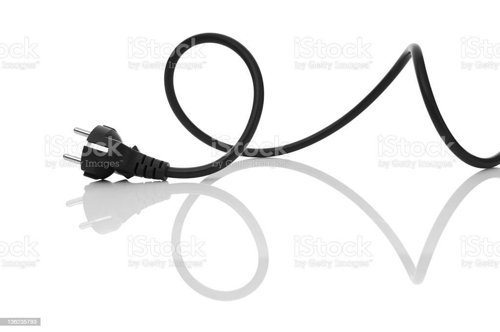 A twirled black electric cable stock photo