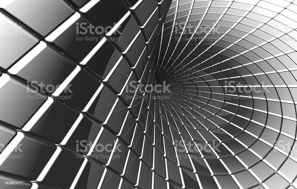 Twisted abstract square silver pattern royalty-free stock photo