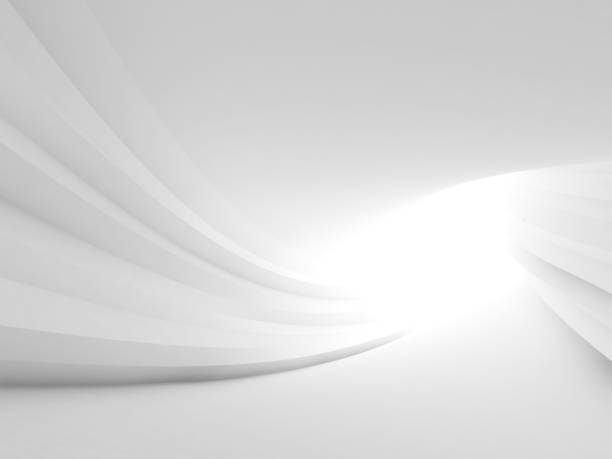 Twisted abstract white tunnel interior stock photo