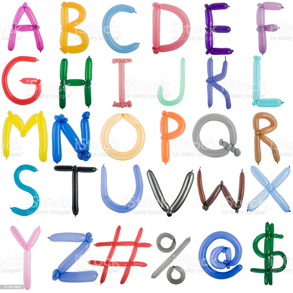 Twisted balloon fonts full set of upper case letters stock photo
