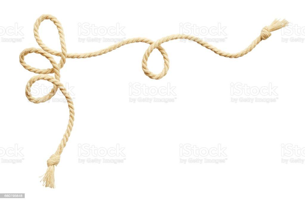 Twisted beige cotton rope corner stock photo