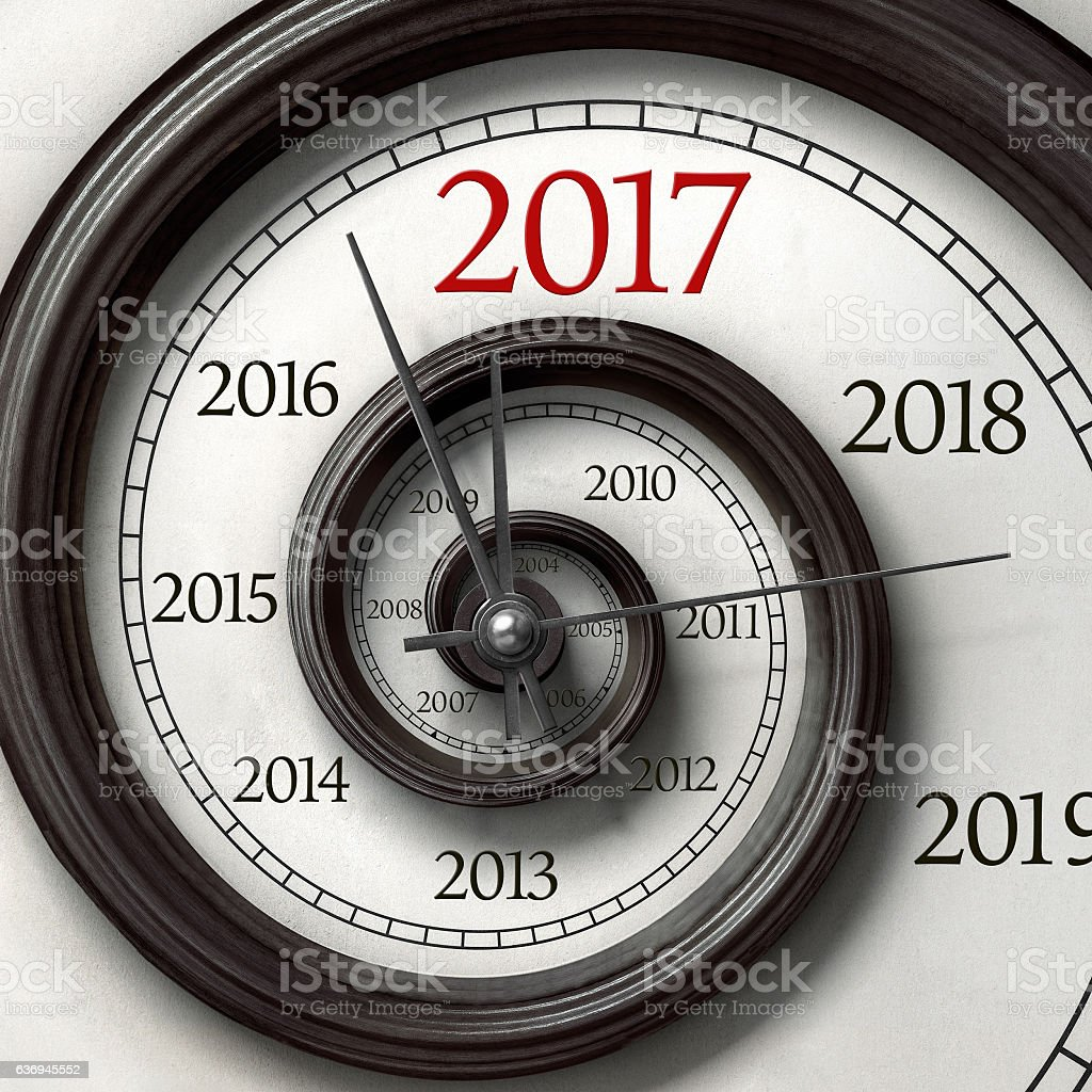 Twisted clock of year 2017 stock photo