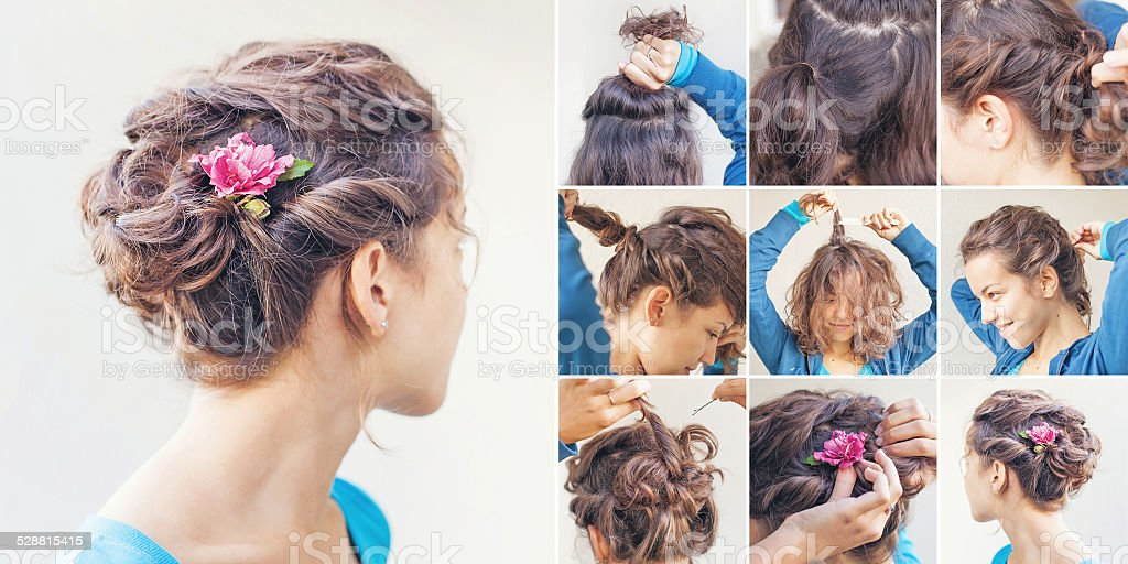 twisted hairdo tutorial by beauty blogger stock photo