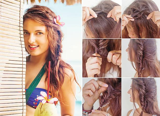 twisted styling anleitung von beauty blogger - hochzeitsfrisur twilight stock-fotos und bilder