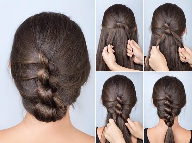 twisted hairstyle tutorial - zopf frisuren stock-fotos und bilder