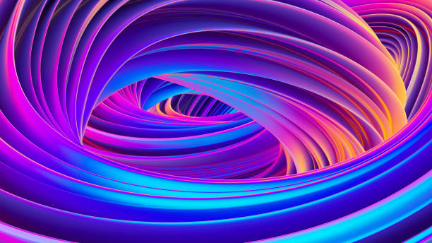 3D twisted liquid shapes abstract background in holographic colors for trendy Christmas design stock photo