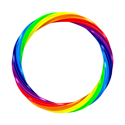 istock Twisted rainbow ring on white background. isolated 3d illustration 935282004